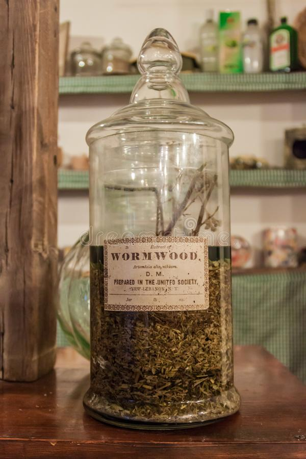 CHACRAS DE CORIA, ARGENTINA - AUG 1, 2015: Bottle of Artemisia absinthium extract absinth at A la Antigua shop in. Chacras de Coria village, near Mendoza stock photo