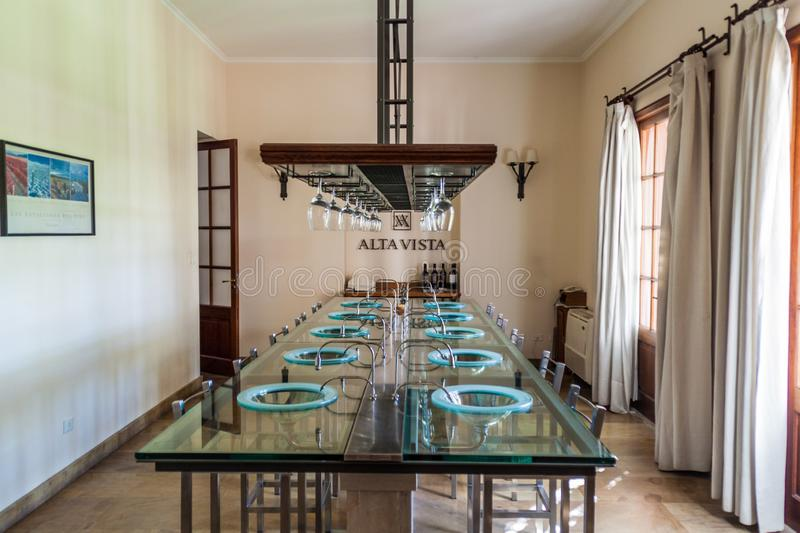 Degustation room of winery Altavista. CHACRAS DE CORIA, ARGENTINA - AUG 1, 2015: Degustation room of winery Altavista in Chacras de Coria village, near Mendoza royalty free stock images