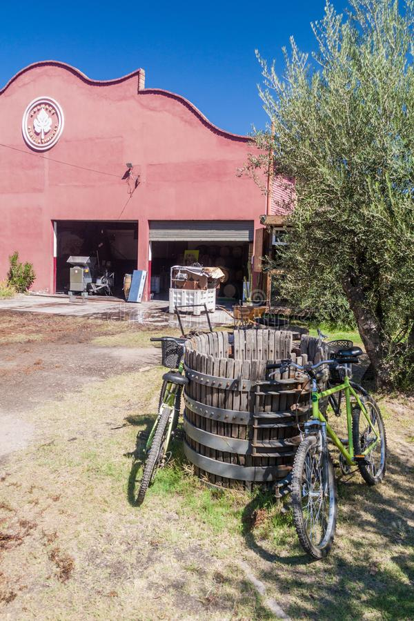 CHACRAS DE CORIA, ARGENTINA - AUG 1, 2015: Tourist bicycles at a winery in Chacras de Coria village, near Mendoza. Argentina stock images