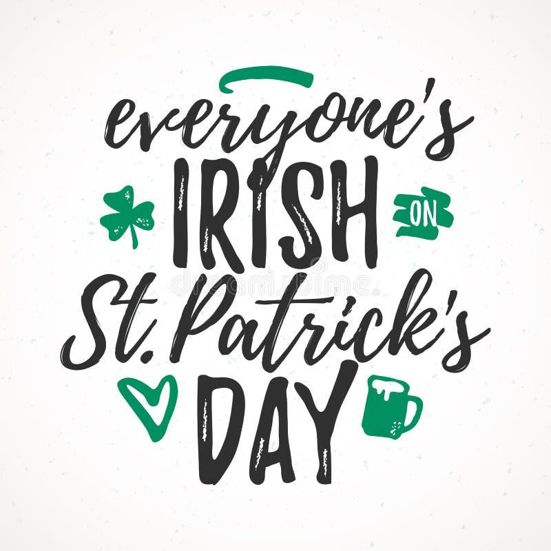 Chacun irlandais le jour de St Patricks illustration de vecteur