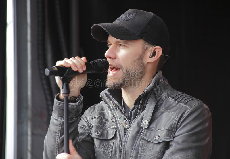 Chad Brownlee and His Band. Canadian singer, songwriter Chad Brownlee performs in Abbotsford, BC on Sunday, February 21, 2016 stock photography