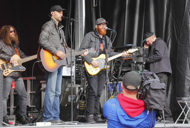Chad Brownlee and His Band. Canadian singer, songwriter Chad Brownlee performs in Abbotsford, BC on Sunday, February 21, 2016 royalty free stock photo