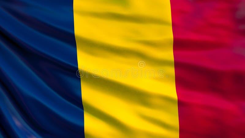 Chad Flag Bandiera d'ondeggiamento dell'illustrazione della Repubblica del Chad 3d illustrazione vettoriale