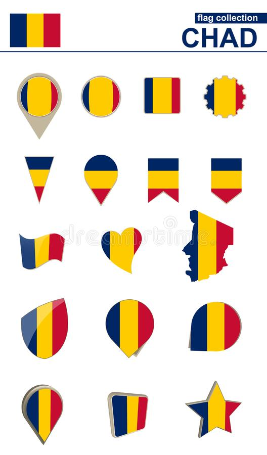 Chad Flag Collection Grand ensemble pour la conception illustration stock