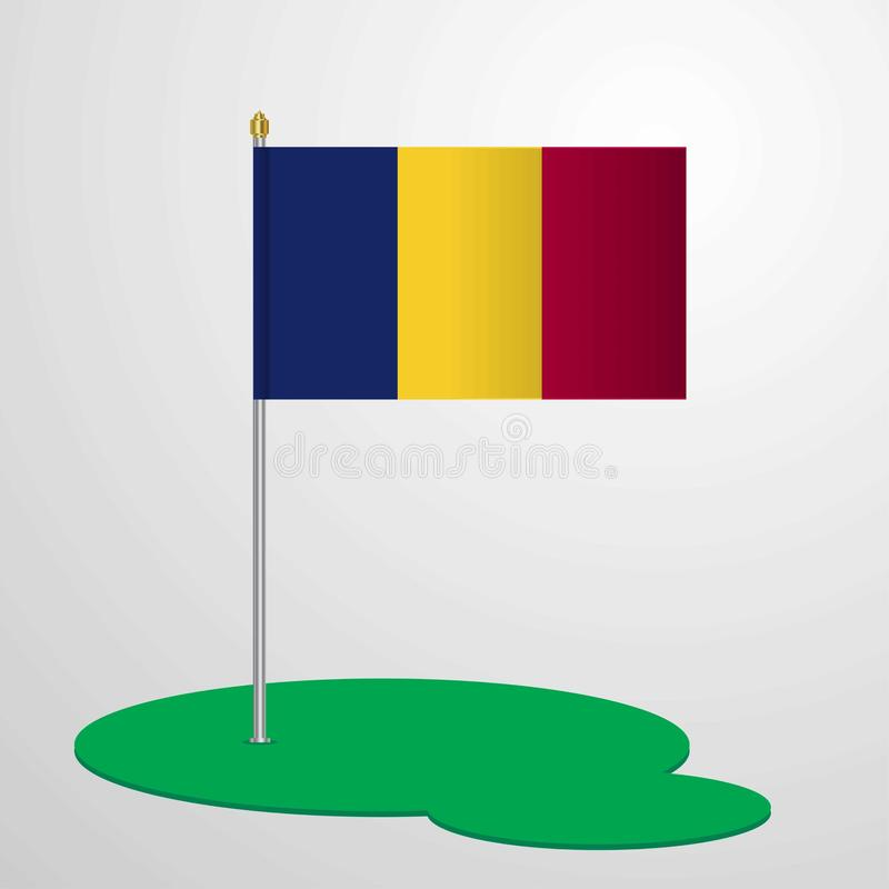 Chad Flag Pole illustration libre de droits