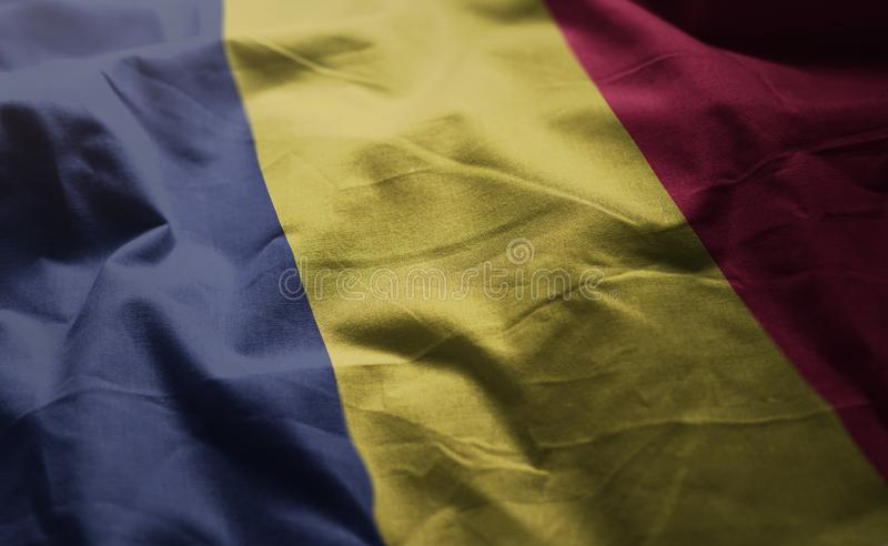 Chad Flag Rumpled Close Up images libres de droits