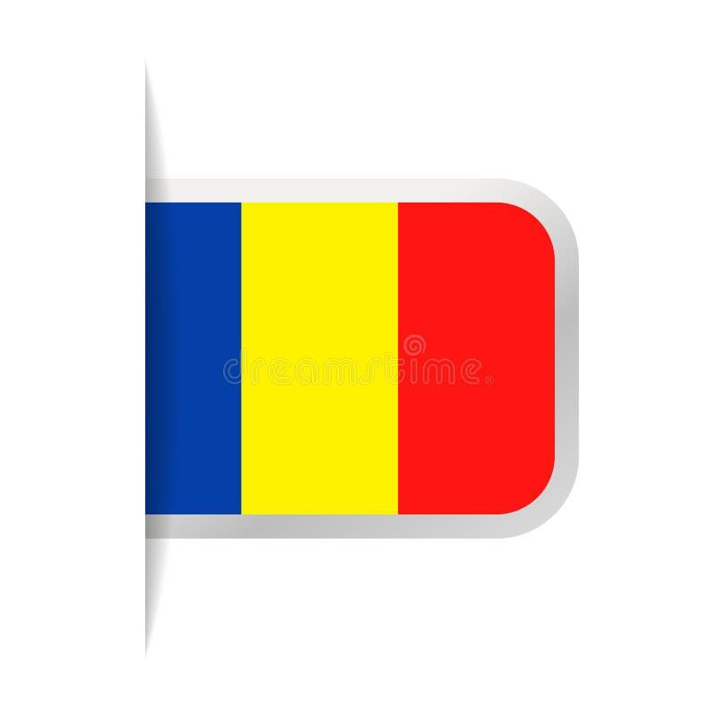 Chad Flag Vector Bookmark Icon stock de ilustración