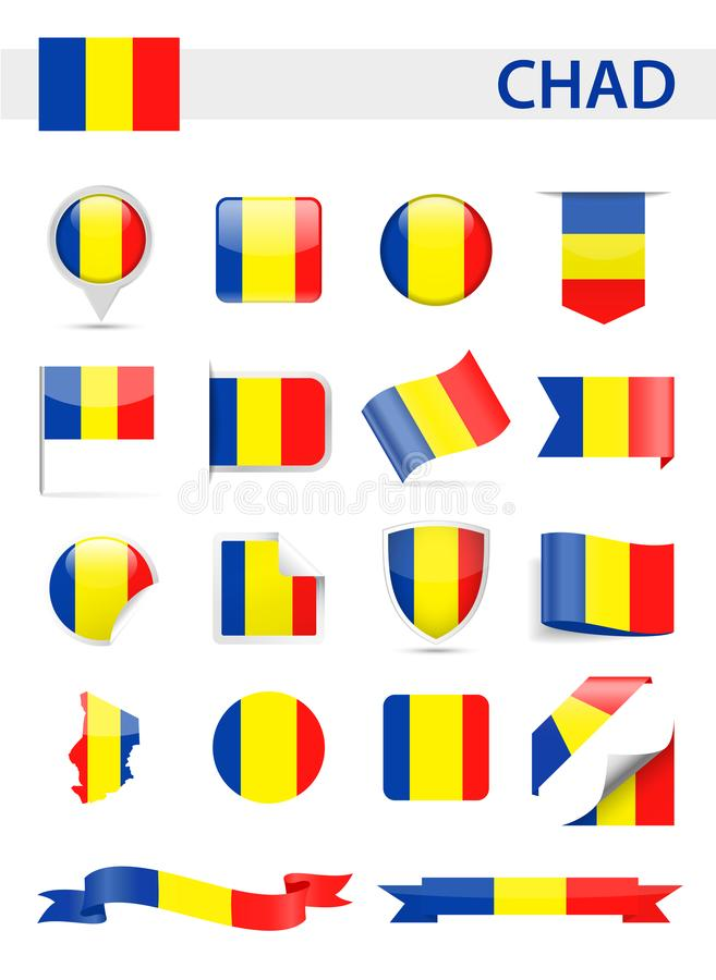 Chad Flag Vector Set illustration de vecteur