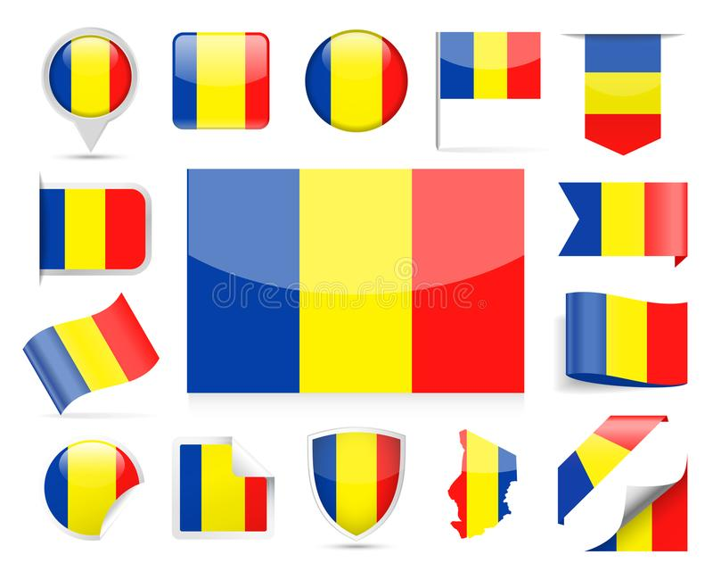 Chad Flag Vector Set illustration stock