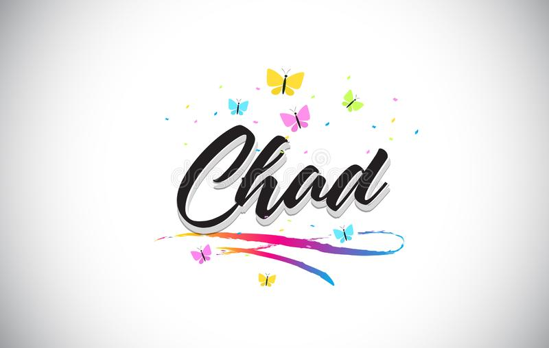 Chad Handwritten Vector Word Text avec des papillons et le bruissement coloré illustration libre de droits