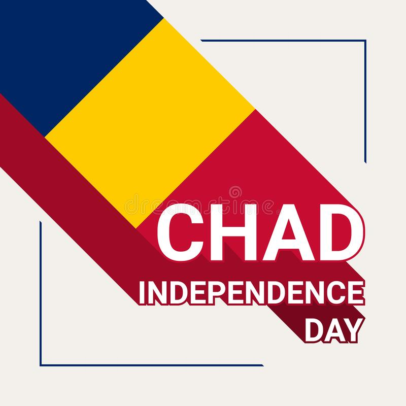 Chad Independence Day Greeting Card avec le drapeau du Tchad illustration libre de droits