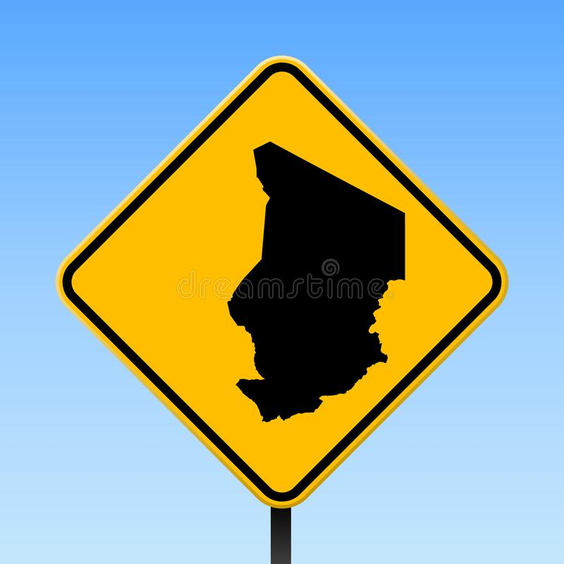 Chad map on road sign. Square poster with Chad country map on yellow rhomb road sign. Vector illustration vector illustration