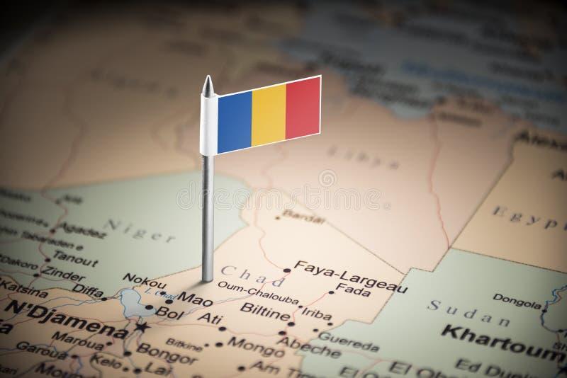 Chad marcado con una bandera en el mapa fotografía de archivo libre de regalías