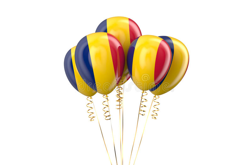 Chad patriotic balloons, holyday concept. Isolated on white background stock illustration