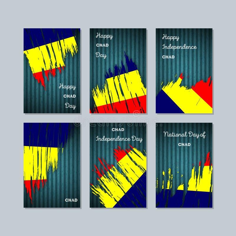Chad Patriotic Cards per la festa nazionale illustrazione di stock