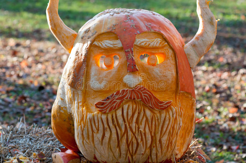 CHADDS FORD, PA - OCTOBER 26: Viking Pumpkin at The Great Pumpkin Carve carving contest on October 26, 2013. CHADDS FORD, PA - OCTOBER 26: View of Viking Pumpkin stock photography