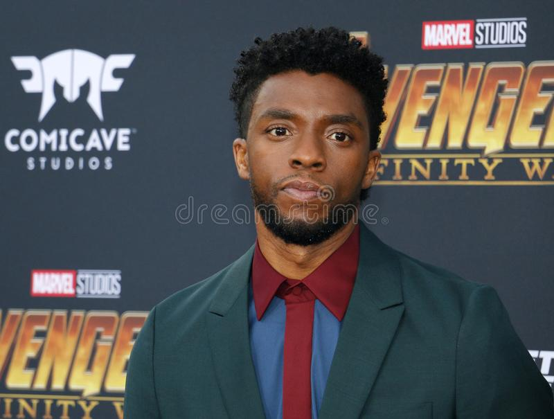 Chadwick Boseman. At the premiere of Disney and Marvel`s `Avengers: Infinity War` held at the El Capitan Theatre in Hollywood, USA on April 23, 2018 royalty free stock image