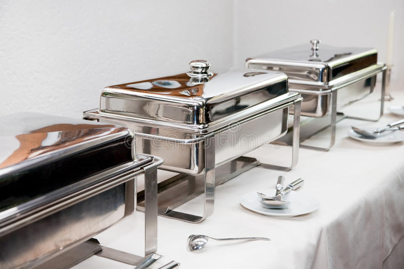 Chafing dish. Made of stainless steel at buffet stock image