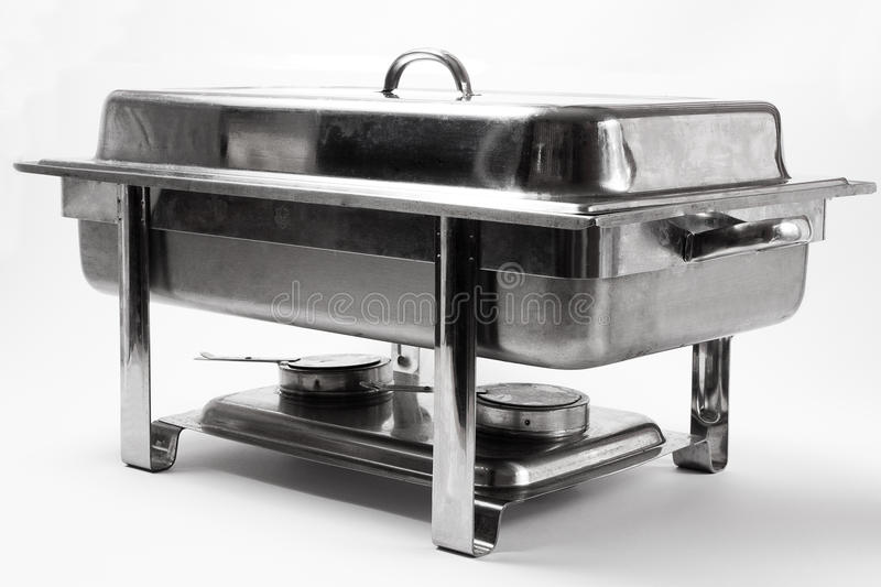 Chafing dish. Metal chafing dish on white background stock photo