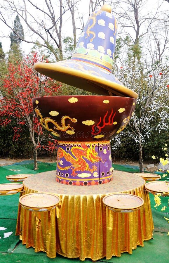 Chafing dish. China chinese beijing Tradition Shabu-Shabu Dragon Giant Pot royalty free stock image