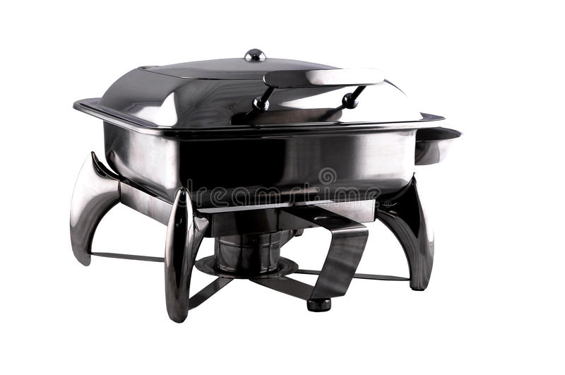 Chafing Dish made of stainless steel for buffet. Chafing dish made of stainless steel isolated on white background stock images