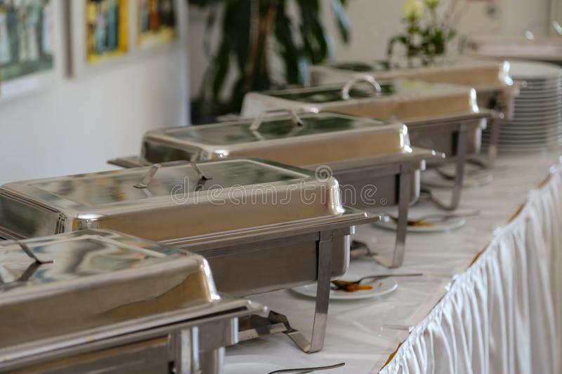 Chafing Dish in a restaurant.  royalty free stock photos