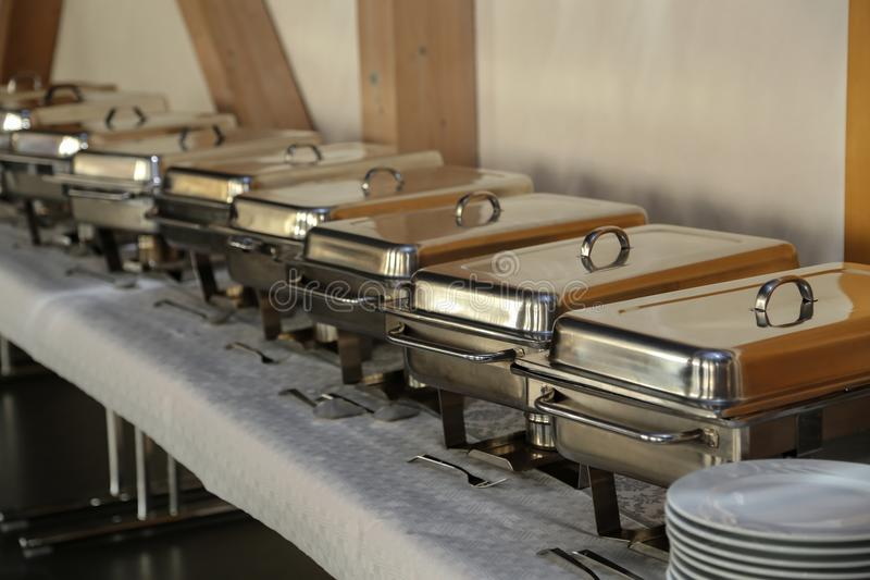 Chafing Dish in a restaurant.  royalty free stock images