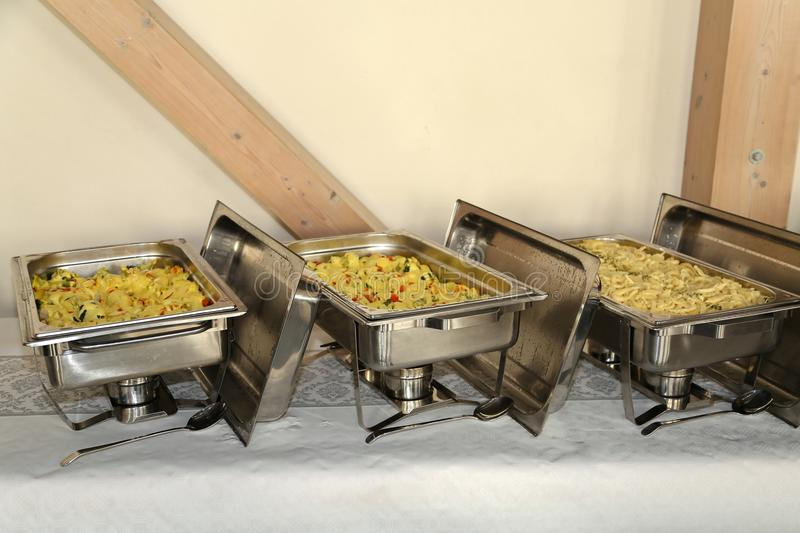 Chafing Dish in a restaurant.  stock image