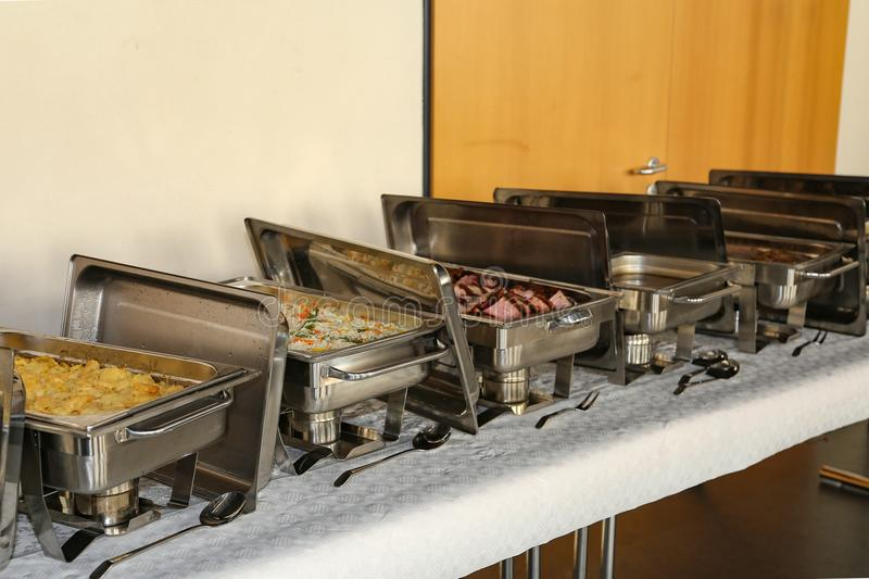 Chafing Dish in a restaurant.  stock images