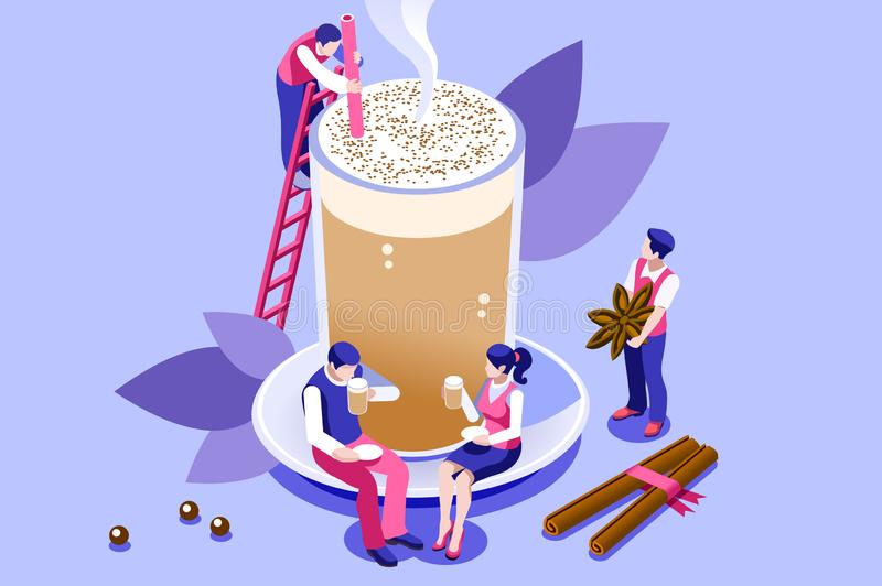 Chai Latte Aroma Sign Drink Symbol. The tasty and healthy aroma of a morning beverage. Green ingredient as a leaf in a hot organic delicious drink to taste the stock illustration