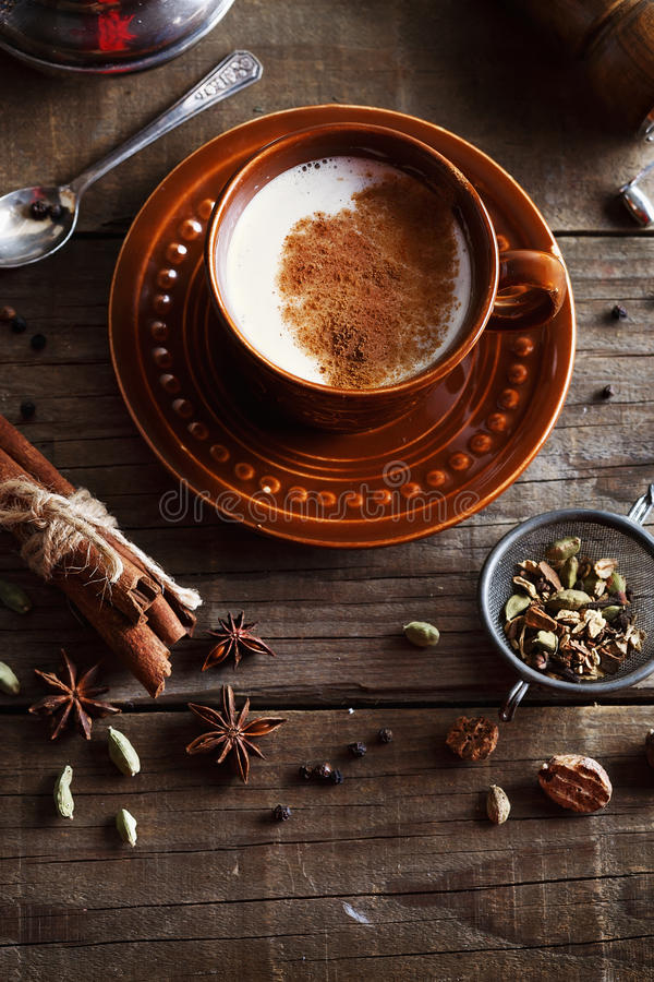 Chai tea masala with spices stock image