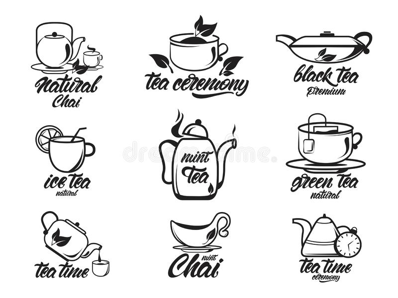 Chai, Tea set with lettering, black and white collection. Black , green , natural tea ceremony. Kettles. Vector illustration vector illustration