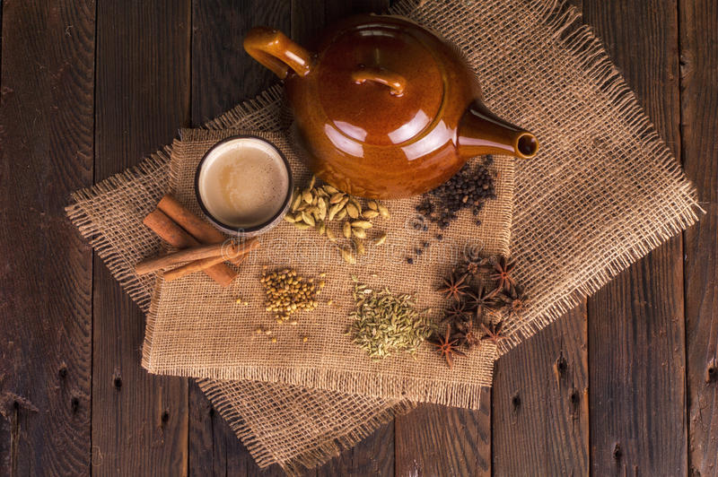 Chai Tea with traditional herbs and spices stock photo