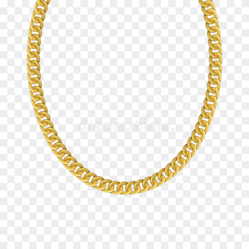 Gold chain isolated. Vector necklace stock illustration