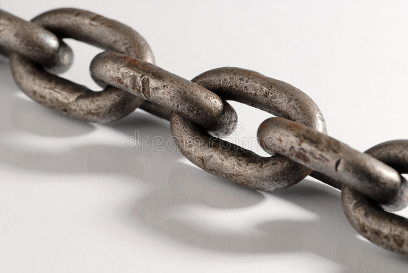 Chain. Old weathered industrial steel chain stock images