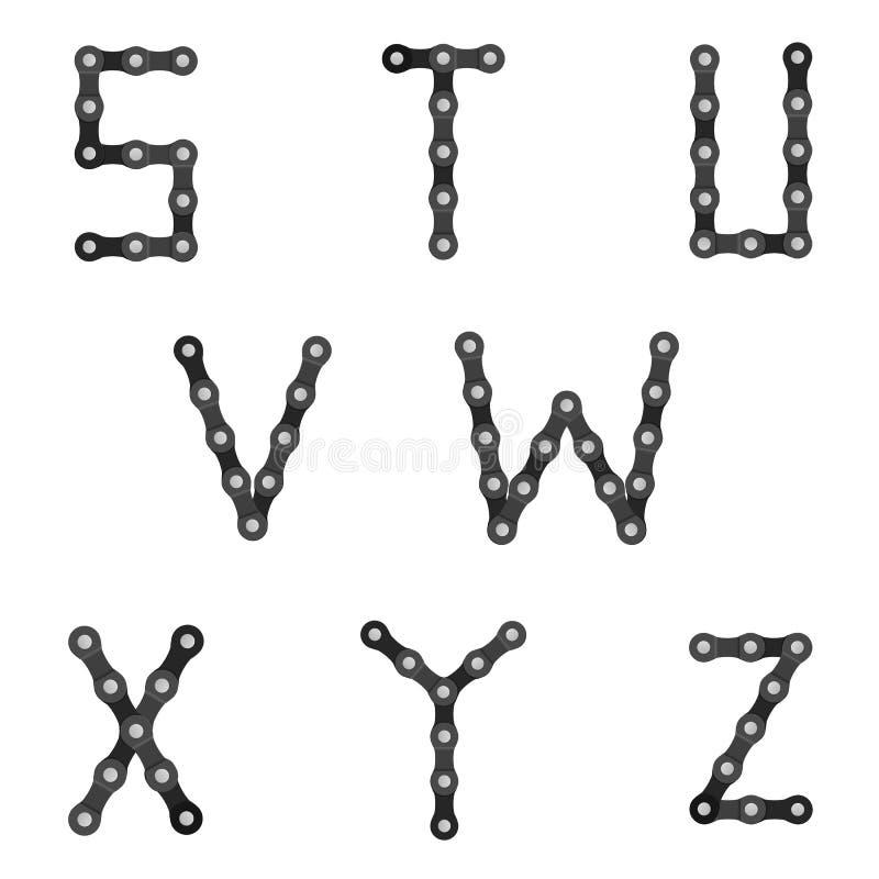 Chain alfabet för cykel S till Z stock illustrationer