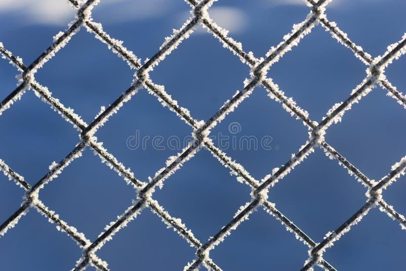 Chain anknyter staket med snow royaltyfri foto