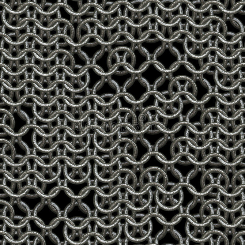 Chain armour. Ring or chain mail armour background with missing links, tiles seamlessly stock illustration