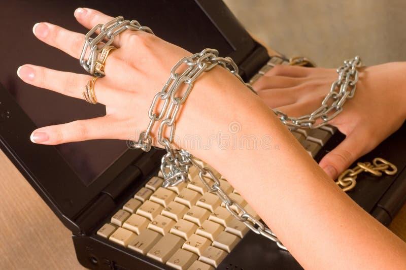 chain bärbar dator royaltyfria bilder
