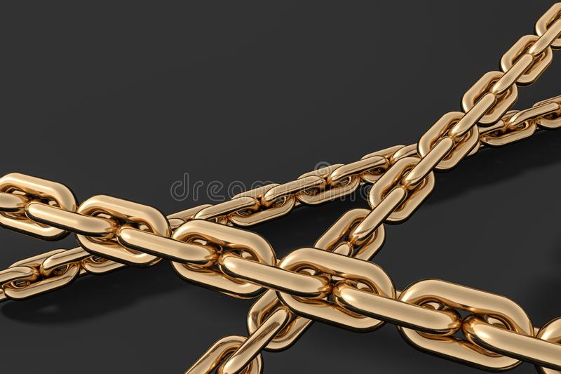 Chain with blank background, concept of digital security, 3d rendering vector illustration