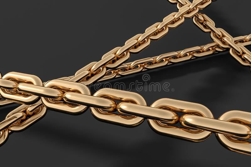 Chain with blank background, concept of digital security, 3d rendering royalty free illustration