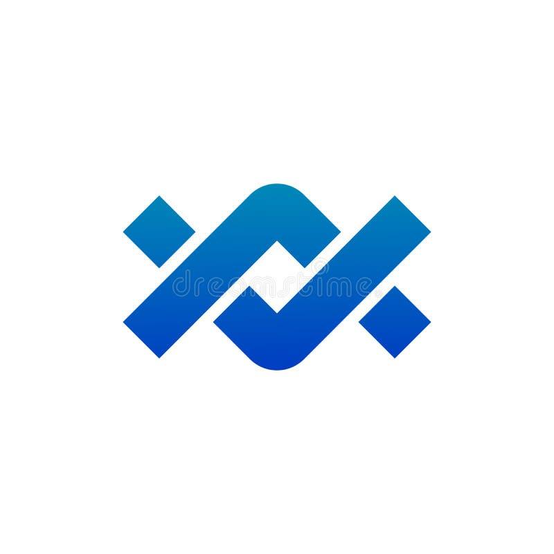 Chain bond tread company infinity concept elements partnership icon logo. Vector illustration isolated on white background stock illustration