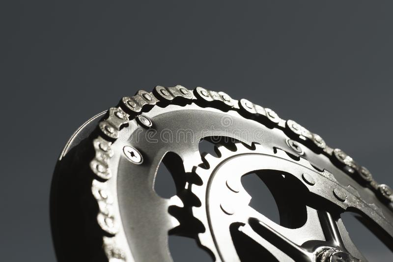 Chain on a brand new bicycle crank royalty free stock images