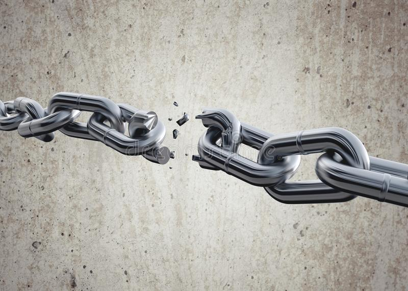 Chain breaking. Chain Chainlink Fence Broken Breaking Link Separation royalty free illustration