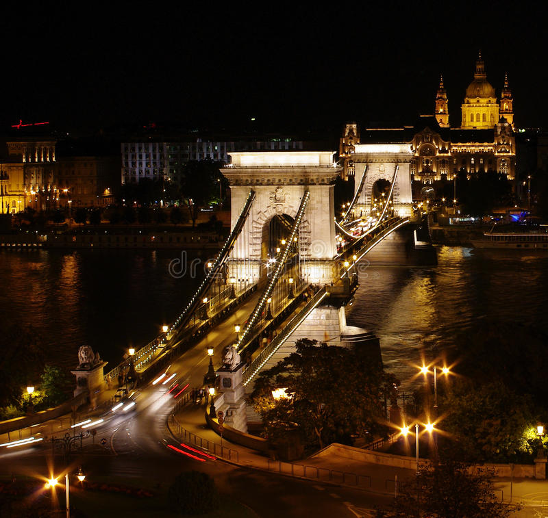 Chain Bridge in Budapest royalty free stock photography