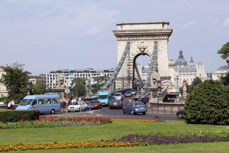 Chain Bridge Budapest stock photo