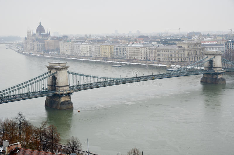 The Chain bridge in Budapest royalty free stock images