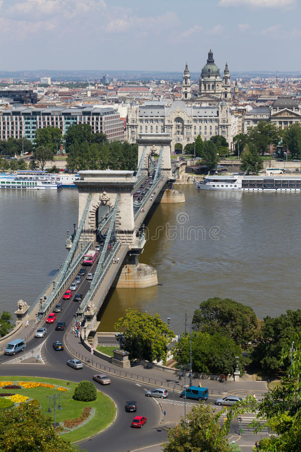 Chain Bridge In Budapest Stock Photo