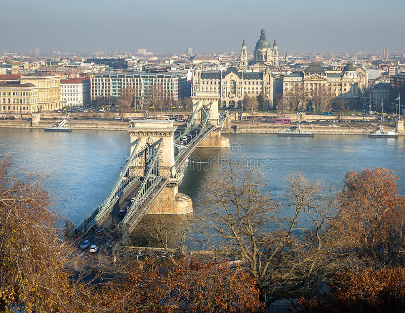 Chain Bridge in Budapest, Hungary royalty free stock image