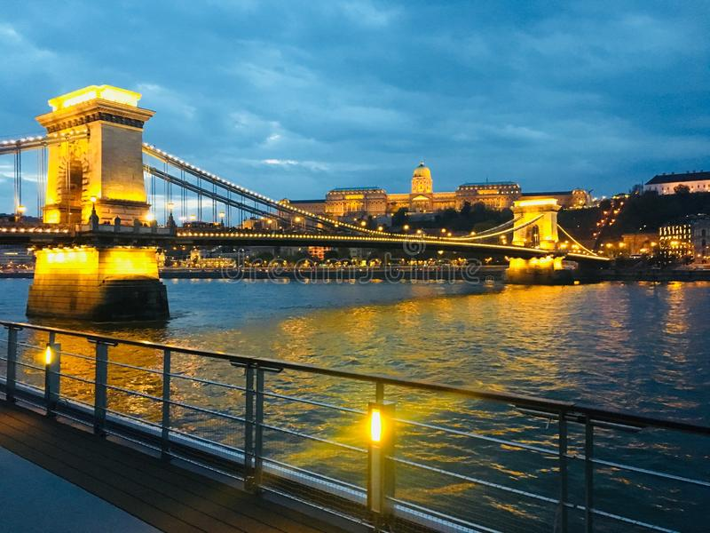 Evening on the Danube in Budapest, Hungary stock photo